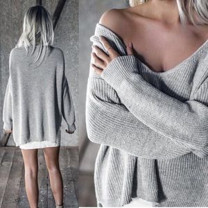 Sweaters - Amelia Hi-Low Knit Sweater In Gray